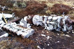 Remains of a Rolls Royce Merlin at the crash site