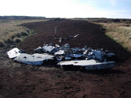 Crash site of Sabre 19234 on Black Hill, Holmefirth in October 2007