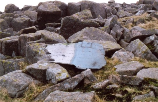 Wreckage at the impact point of Sabre 23380 on Iron Crag, Ennerdale