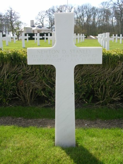Grave of Flight Officer Newton D. Stanley at Cambridge American Military Cemetery