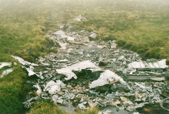 Aircraft wreckage at the crash site of Martin B-26 41-34707 on Beinn na Feusaige, Glen Carron