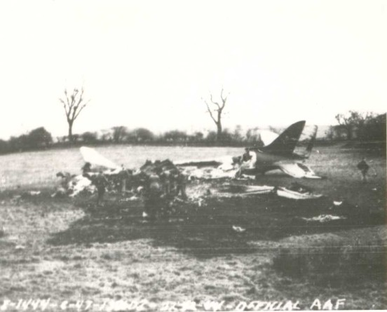 Crash site of Douglas C-47A 41-38608 at Dawson Farm, Bosley, Cheshire in 1944