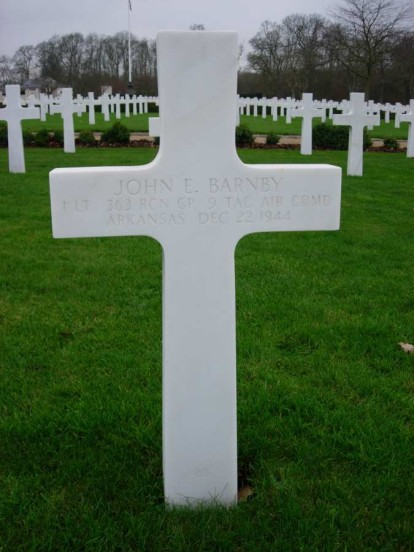 Grave of 1st Lieutenant John E. Barnby at the Cambridge American Military Cemetery