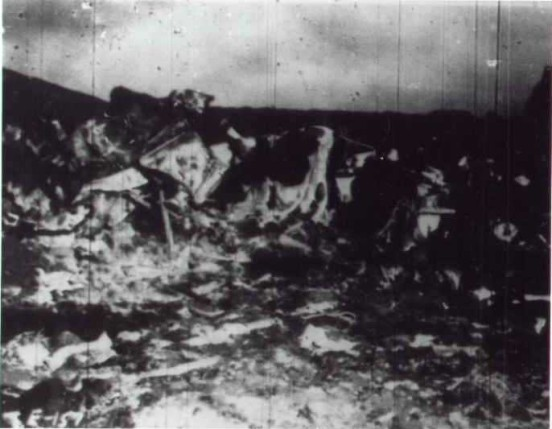 Photograph from the aircraft accident report of the crash site shortly after the incident