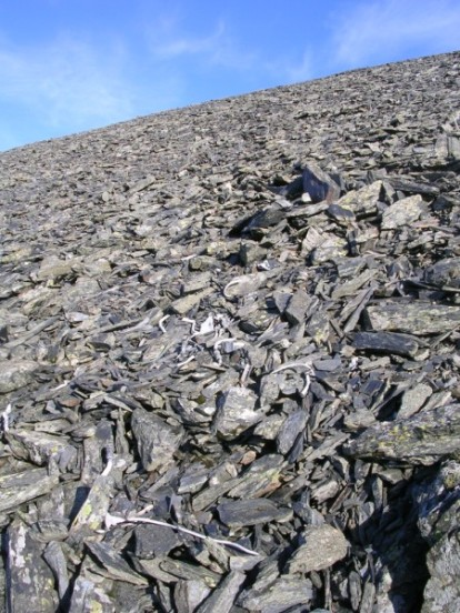 Small fragments in the scree at the crash site of B-17 41-9051 high on Skiddaw