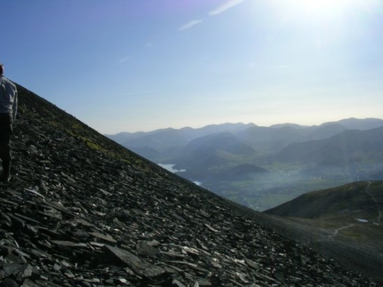 The view from the crash site of B-17 41-9051 on Skiddaw towards Keswick