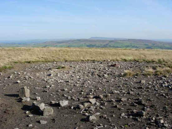 Burnt scar at the crash site of B-24J 42-100322 on Burn Fell near Slaidburn, Lancashire