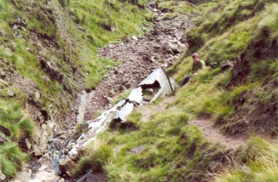 Rear fuselage from Douglas C-47A 42-108982 in Ashton Clough below Shelf Moor, Bleaklow