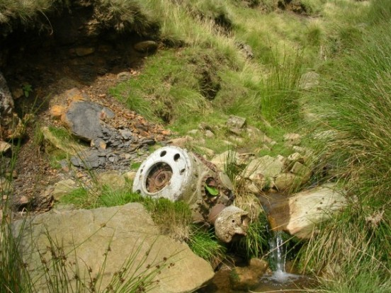 Pratt & Whitney Twin Wasp engine from Douglas C-47A 42-108982 in Ashton Clough below Shelf Moor, Bleaklow