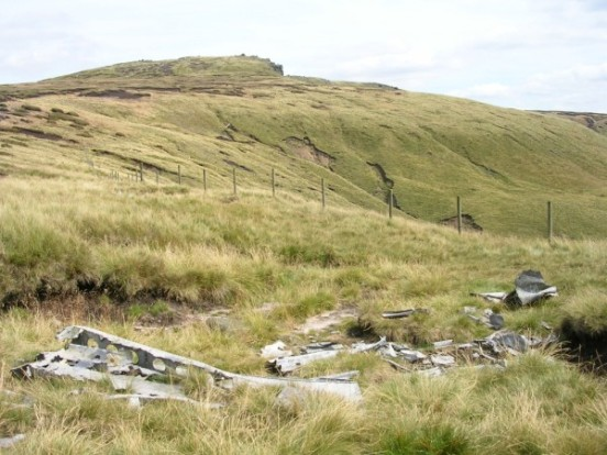 Wreckage at the crash site of Douglas C-47 42-108982 on Shelf Moor, Bleaklow