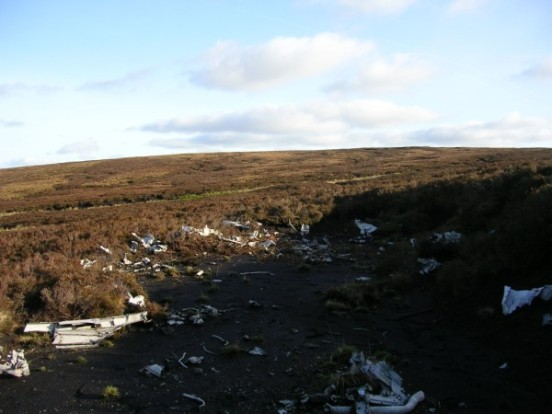 Wreckage at the crash site of P-38G 42-12929 on Baxton Fell near Slaidburn, Lancashire