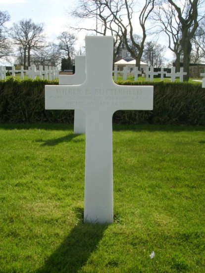 Grave of Captain Wilber B. Butterfield at Cambridge American Cemetery