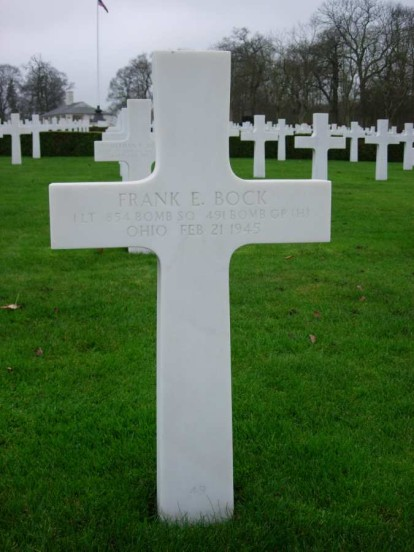 Grave of Frank Bock at Cambridge American Cemetery