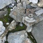 Small pieces of wreckage at the crash site of Consolidated B-24 Liberator 42-51202 on Snaefell, Laxey, Isle of Man