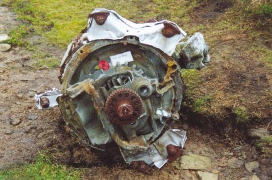Remains of a Pratt & Whitney Twin Wasp engine at the crash site of Consolidated B-24 Liberator 42-52003, Mill Hill, Hayfield, Derbyshire