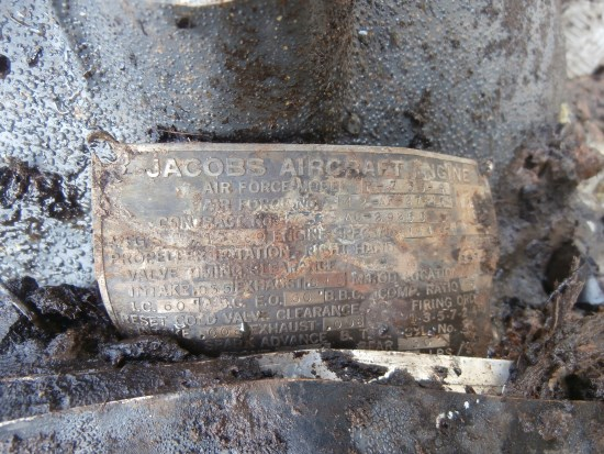 Engine makers plate on a Jacobs R-755 engines from UC-78A Bobcat 42-58513 which crashed on Craigton Hill near Milngavie