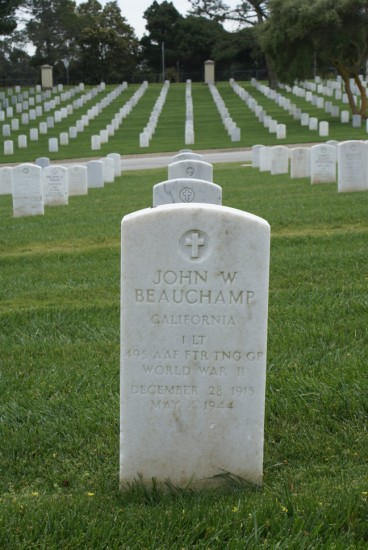 Grave of 1st Lieutenant John Beauchamp, pilot of Republic P-47 42-75101, at Golden Gate National Cemetery, San Francisco CA
