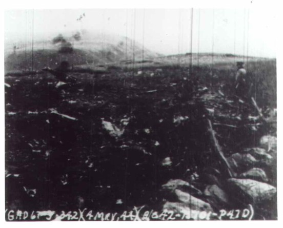 Accident report photograph of the crash site of Republic P-47 42-75101 on Mynydd Copog, Dolgellau, Wales