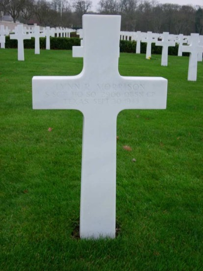 Grave of Staff Sergeant Lynn R Morrison at Cambridge American Military Cemetery