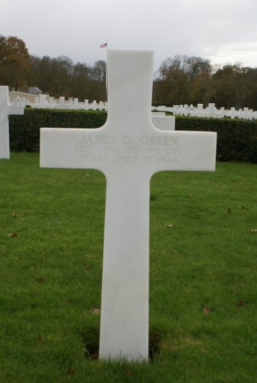 Grave of Private First Class James D. Green at Cambridge American Military Cemetery, patient aboard 42-93038