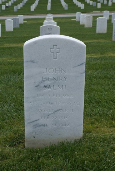 Grave of T/3 Medical Assistant John Henry Salmi at Golden Gate National Cemetery, San Francisco, California, crew member aboard 42-93038