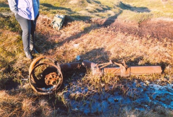 Undercarriage oloe at the crash site of Consolidated B-24H 42-94841 on Twizle Head Moss, Holmfirth