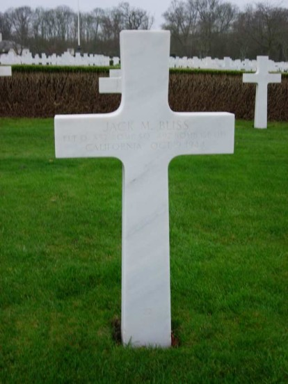 Grave of Flight Officer Jack M. Bliss at Cambridge American Military Cemetery