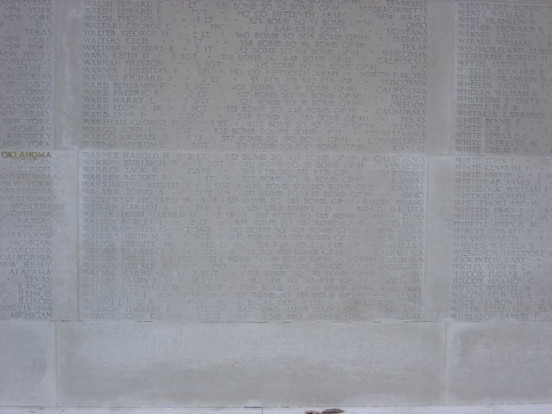 Commemoration of Corporal Clarence S. Watson on the Tablets of the Missing at the Cambridge American Military Cemetery