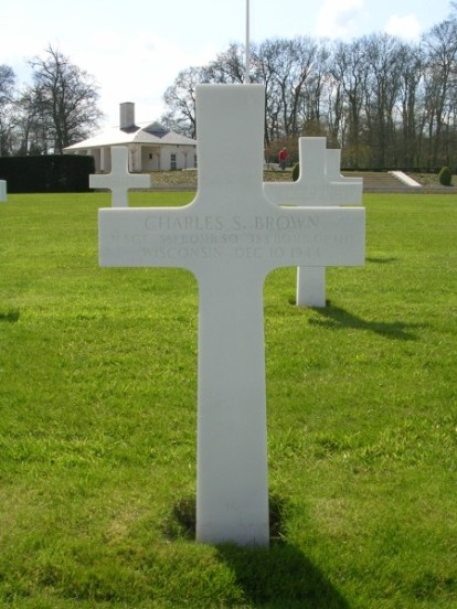 Grave of Master Sergeant Charles S. Brown, at Cambridge American Military Cemetery