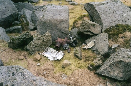 Engine parts at the crash site of B-17G 42-97286 on Beinn Nuis, Isle of Arran