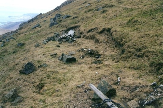 Partly buried mainspar from B-17G 42-97286 at the crash site on Beinn Nuis, Isle of Arran