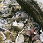 Pieces of wreckage below the crash site on Beinn Nuis, Isle of Arran
