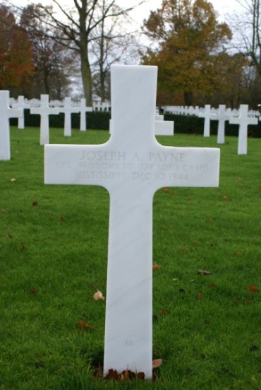 Grave of Engineer, Corporal Joseph A. Payne at Cambridge American Military Cemetery