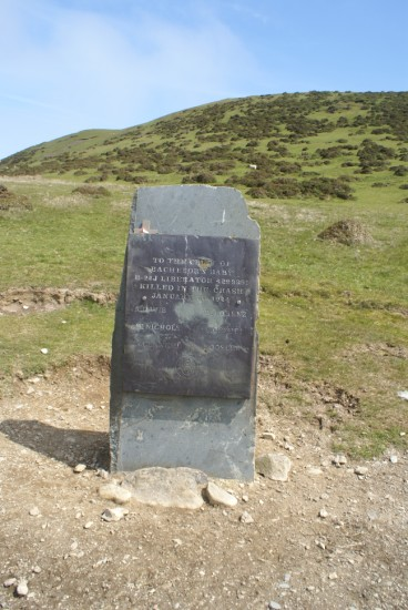 Memorial at the crash site of Consolidated B-24J 42-99991 on Moelfre, Penmaenmawr, Conwy