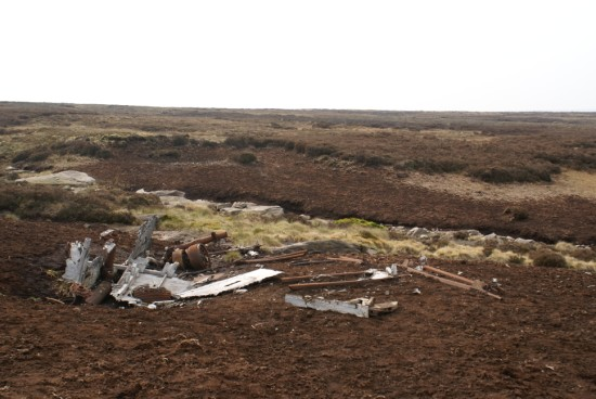 Crash site of Boeing B-17G Flying Fortress 43-37667 on Meltham Moor, West Yorkshire