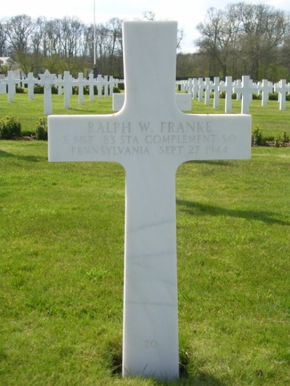 Grave of Staff Sergeant Ralph W. Franke at Cambridge American Cemetery