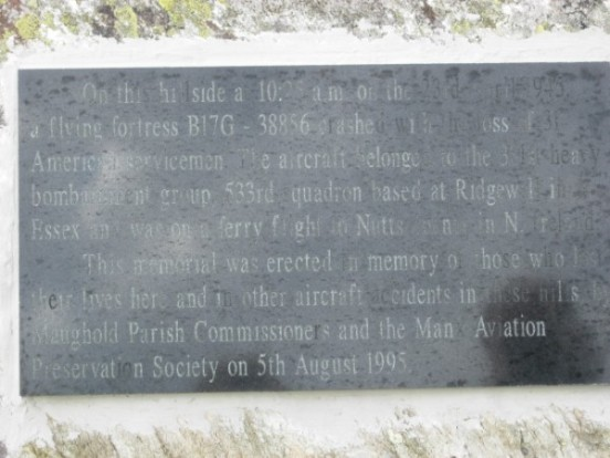 Memorial plaque at the crash site of Boeing B-17G 43-38856 on North Barrule, Isle of Man