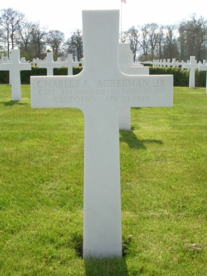 Grave of Captain Charles E. Ackerman at Cambridge American Cemetery
