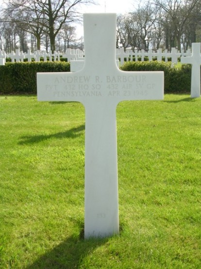 Grave of Private Andrew R. Barbour at Cambridge American Cemetery