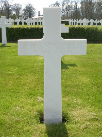 Grave of Private First Class Angelo Quagliariello at Cambridge American Cemetery