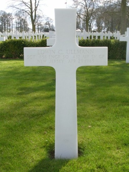 Grave of Sergeant Edwin C. Ullmann at Cambridge American Cemetery