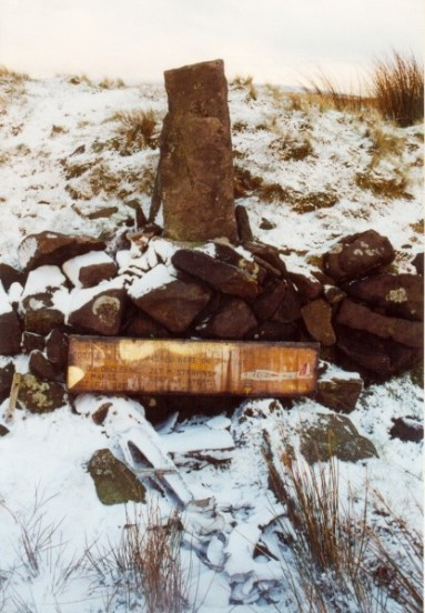 Memorial at the crash site of Boeing B-17G 43-38944 on Birchenough Hill, Wildboarclough, Cheshire