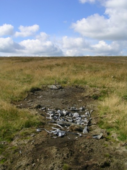 Aircraft wreckage at the crash site of Boeing B-17G 43-38944 on Birchenough Hill, Wildboarclough, Cheshire