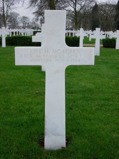 Grave of Staff Sergeant Kirk McLoren at Cambridge American Military Cemetery