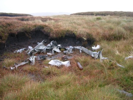 Scattered parts at the crash site on Goodman's Cairn, Stranraer