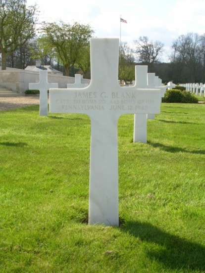 Grave of the pilot, Captin James G. Blank at the Cambridge American Military Cemetery
