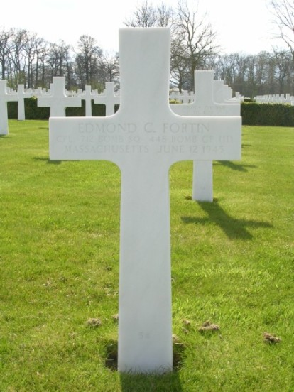 Grave of Corporal Edmond C. Fortin at Cambridge American Military Cemetery