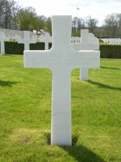 Grave of Staff Sergeant Allan D. Good at Cambridge American Military Cemetery