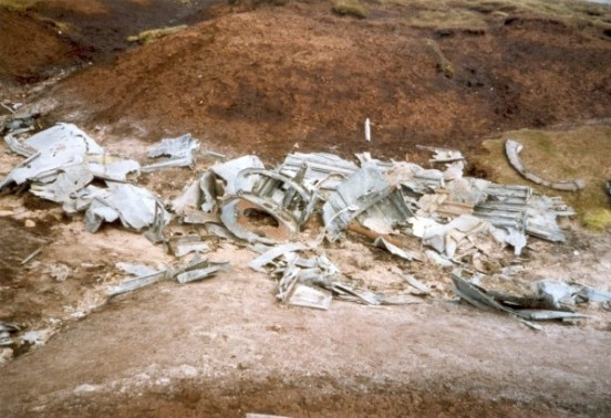Wreckage at the crash site of RB-29A Superfortress 44-61999 at Higher Shelf Stones, Bleaklow, Derbyshire