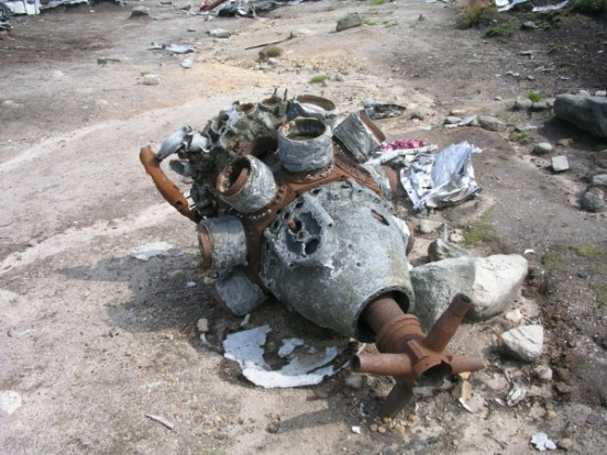 Wright Cyclone engines at the crash site of Boeing RB-29A Superfortress 44-61999 at Higher Shelf Stones, Bleaklow